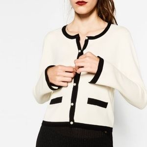 Zara Size M Colorblock Contrasting Pearls Cardigan